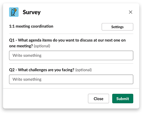 1-1 meeting coordination survey