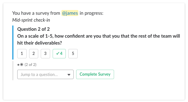 mid sprint check in survey template polly