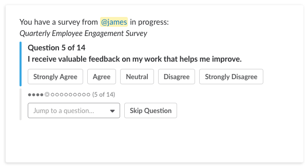 survey template employee engagement slack polly