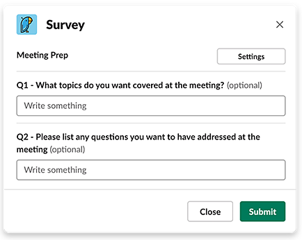 Meeting prep survey