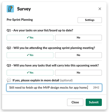 Pre-sprint planning survey