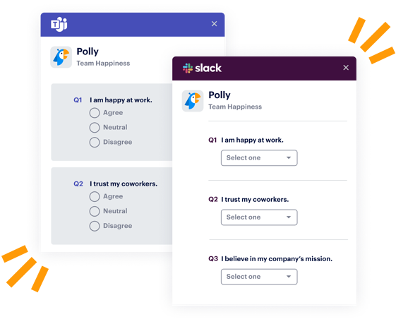 employee happiness questions in Teams and Slack