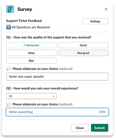 Support ticket feedback