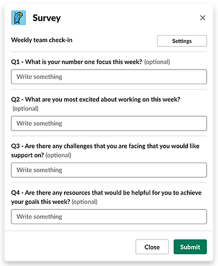 Weekly Team Check-In survey